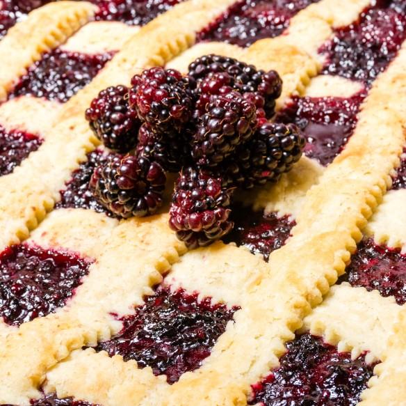 Marionberry cobbler with crossed crust