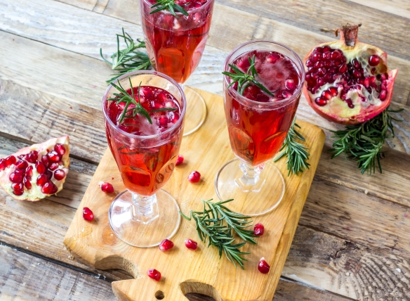 Pomegranate champagne mimosa cocktail